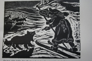 Emilie Demant Hatt. From the book By the Fire [Ved Ilden], lino cut. 1922.